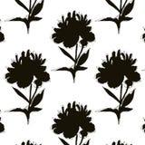 Black white peony illustration. Modern mononchrome repetition art. Botany pattern with repetiotion big flowers. Black white peony illustration. Modern stock illustration