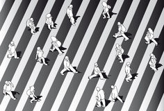 Black and white people crossing street Stock Photography