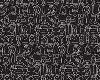 Black and White People Seamless Background Pattern. Monochrome white on black people drawing. Vector illustration EPS8 vector illustration