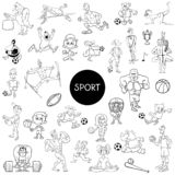 Black and white people and sports cartoons royalty free illustration