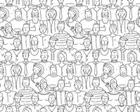 Black and White People Throng Seamless Background Stock Image