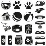 20 black and white pet shop silhouette elements. Domestic animals care vector illustration for icon, sticker, patch, label, badge, certificate or gift card Stock Photo