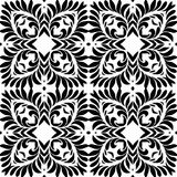 Black and white petals seamless pattern background illustration Stock Images