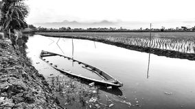 Black and white photo of abandoned small boat. In the edge of rice field, half drowning Royalty Free Stock Photos