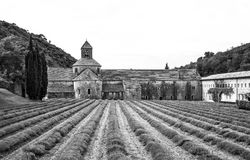 Black and white photo of Abbey Senanque of Provence. Classic photo of the iconic Abbey Senanque in the Luberon region of France royalty free stock images