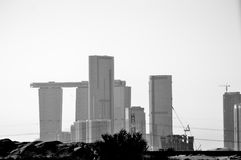 Abu Dhabi. A black and white photo of Abu Dhabi Stock Photo