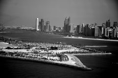 Abu Dhabi on waterfront. A black and white photo of Abu Dhabi waterfront Royalty Free Stock Photography