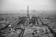 Black and white photo of aerial view Paris, France Stock Photos