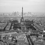 Black and white photo of aerial view Paris, France Royalty Free Stock Photos