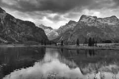 Black-and-white photo of the Alpine lake Stock Photo