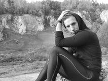 Black and white photo of autumn trekking tour royalty free stock image