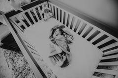 Black And White Photo Of Baby Stock Photo