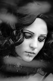 Black-and-white photo of the beautiful girl Royalty Free Stock Photos