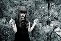 Black and white photo of a beautiful girl on a background of pine Stock Image