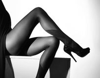 Black and white photo of the beautiful legs in nice stockings