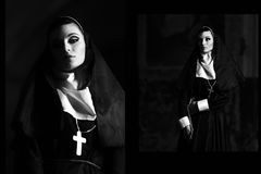 Black and white photo of beautiful, sexy, pretty nun in church. Portrait of very beautiful nun with dangerous, mystical eyesight. Stock Photo