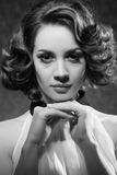 Black and white photo of beautiful woman Royalty Free Stock Photo