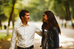 Black and white photo beautiful young couple in the park Stock Photos