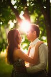Black and white photo beautiful young couple in the park Royalty Free Stock Photography