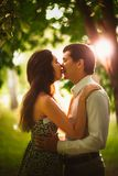 Black and white photo beautiful young couple in the park Royalty Free Stock Images