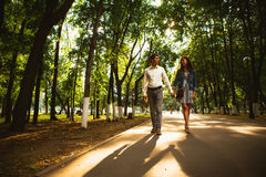 Black and white photo beautiful young couple in the park Stock Image