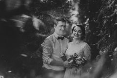 Black and white photo the bride and groom in the foliage of trees Royalty Free Stock Image