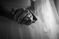 Black and white photo of brides hands with beautiful manicure Royalty Free Stock Photography