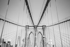 Black and white photo of the Brooklyn Bridge, NYC. Stock Photos