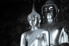 Black and white photo of Buddha statue and thai art architecture in Wat Bovoranives, Bangkok, Thailand. Stock Photo