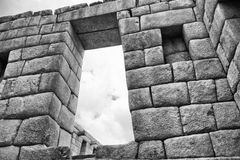 Black & White photo of buildings in Machu Picchu Royalty Free Stock Photography