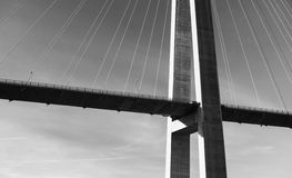 Black and white photo of cable-stayed bridge Royalty Free Stock Photography