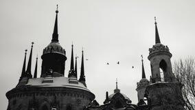 Black-and-white photo of Catholic church. On winter day Royalty Free Stock Photos