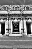 Black and white photo of the Central railway station in Milan, Italy. Royalty Free Stock Photography