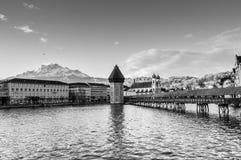Black and white photo of Chapel Bridge in Luzern, Switzerland. Chapel /Chappel Bridge and Water Tower in Luzern, Switzerland.Chapel/Chapels Bridge or Chappels Stock Photos