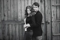 Black and white photo of a couple Royalty Free Stock Photography