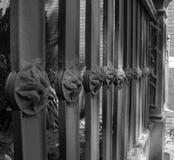 Black & white photo of decorative property fence Royalty Free Stock Photo
