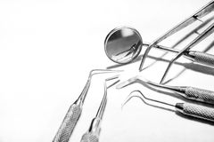 Black and white photo of dental equipment. On white background Stock Images