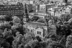 Black and white photo of Edinburgh downtown, Scotland. Gothic scottish capital city center in black and white. Edinburgh main street in Scotland. Residential Stock Image
