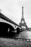 Black and white photo of Eiffel tower and Jena bridge stock photo