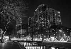 Black-white photo of famous city sights at night time. ROTTERDAM, NETHERLANDS - DECEMBER 26, 2015: Black-white photo of famous city sights at night time on Stock Photo