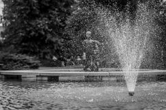 Fountain in Jaakonpuisto Kouvola. A black and white photo of the fountain in the Jaakonpuisto park in the center of Kouvola, southeastern Finland Royalty Free Stock Images