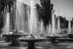 Black and white photo of a fountain in Republic of Kyrgyzstan. Black and white photo of a fountain in Republic of Kyrgyzstan Royalty Free Stock Photo