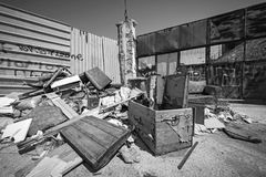 Garbage dump in a deprived area. Black and white photo of Garbage dump in a deprived area at Piraeus, Greece Royalty Free Stock Images