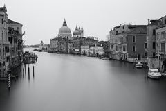 Black and white photo Grand canal Royalty Free Stock Photos