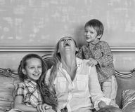 Black and white photo, family, happy, Mother`s Day, Family Day, stock images