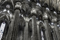 Black and white photo of  Interior of the famous Cathedral Duomo di Milano on piazza in Milan Royalty Free Stock Image