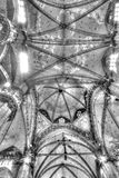 Black and white photo Interior of the famous Cathedral Duomo di Milano on piazza in Milan Stock Photography