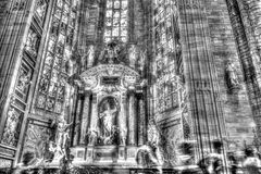 Black and white photo Interior of the famous Cathedral Duomo di Milano on piazza in Milan Royalty Free Stock Photos