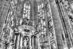 Black and white photo Interior of the famous Cathedral Duomo di Milano on piazza in Milan Stock Photos