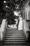 Black and white photo of just married couple. Bride and groom. Wedding dress. Wedding photo Royalty Free Stock Photography